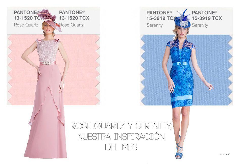 vestidos fietsa color rose quartz y azul serenity