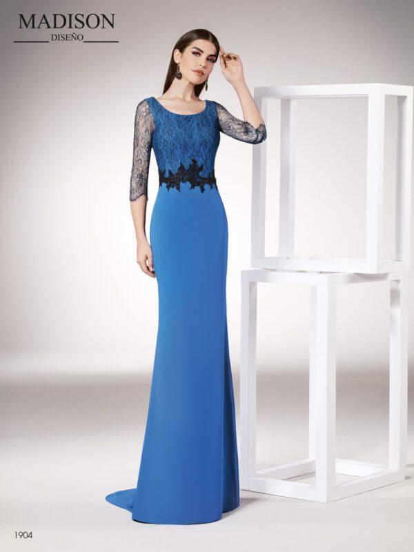 Vestido azul largo entallado