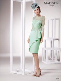vestido de fiesta corto color verde marca madison