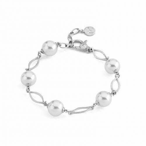 pulsera oro blanco perlas clásica majórica