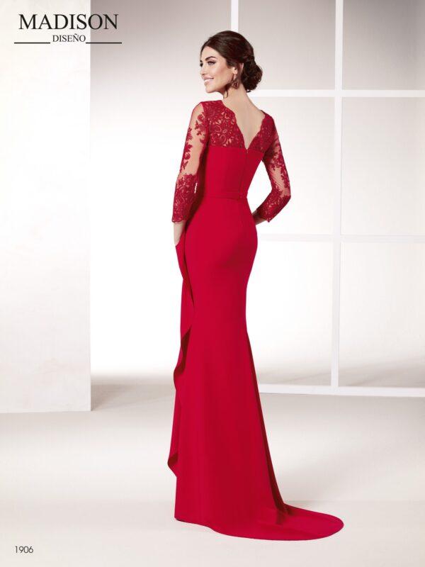 Vestido de fiesta para madrinas rojo con tul bordado y crepe
