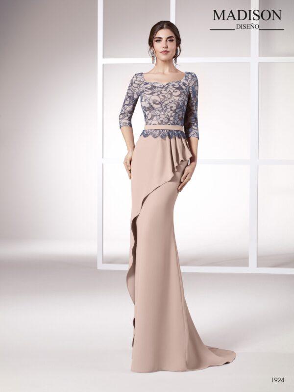 Vestido de fiesta largo de falda con volante asimétrico de tejido chantilly con hilo de lurex