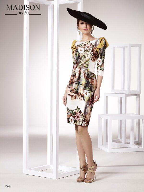 Vestido de coctel con tejido mikado