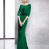 Vestido verde en triacetato con aplicación de cristal en cuerpo y manga francesa