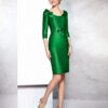 Vestido verde Andalucía en pique con escote ovalado y aplicación de tela en cintura
