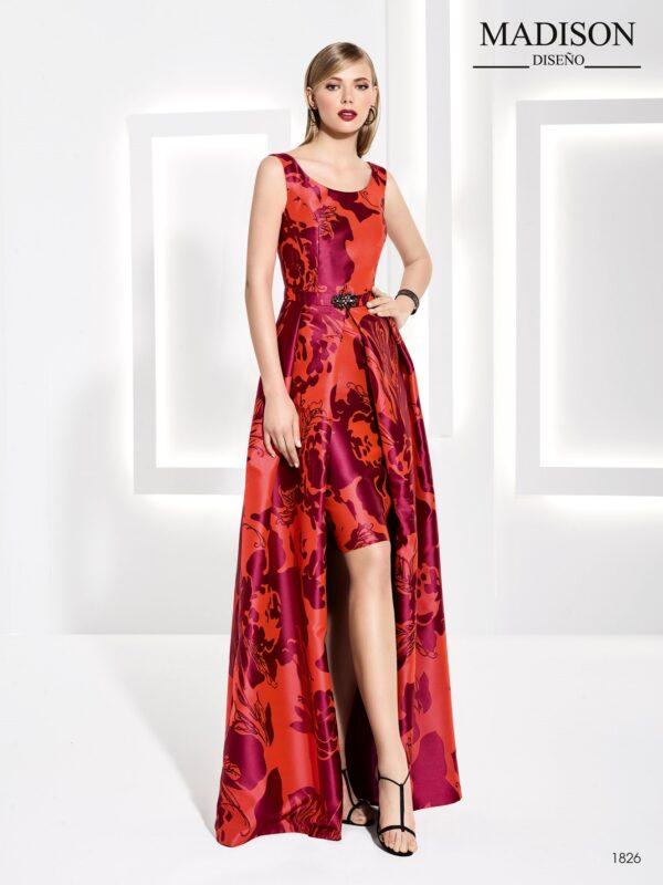 Vestido de fiesta realizado en jacquard con motivos florales